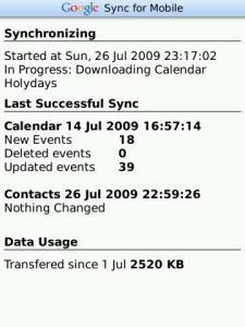 GoogleSync Blackberry Client