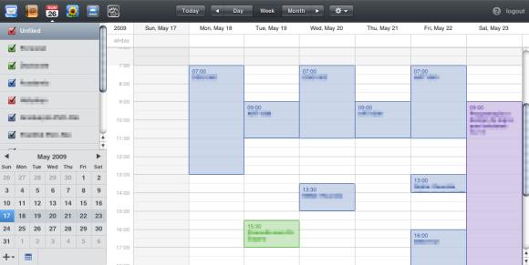 Visualização semanal do calendário online do MobileMe