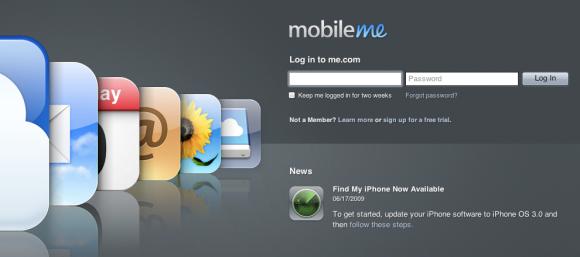 Tela inicial do MobileMe
